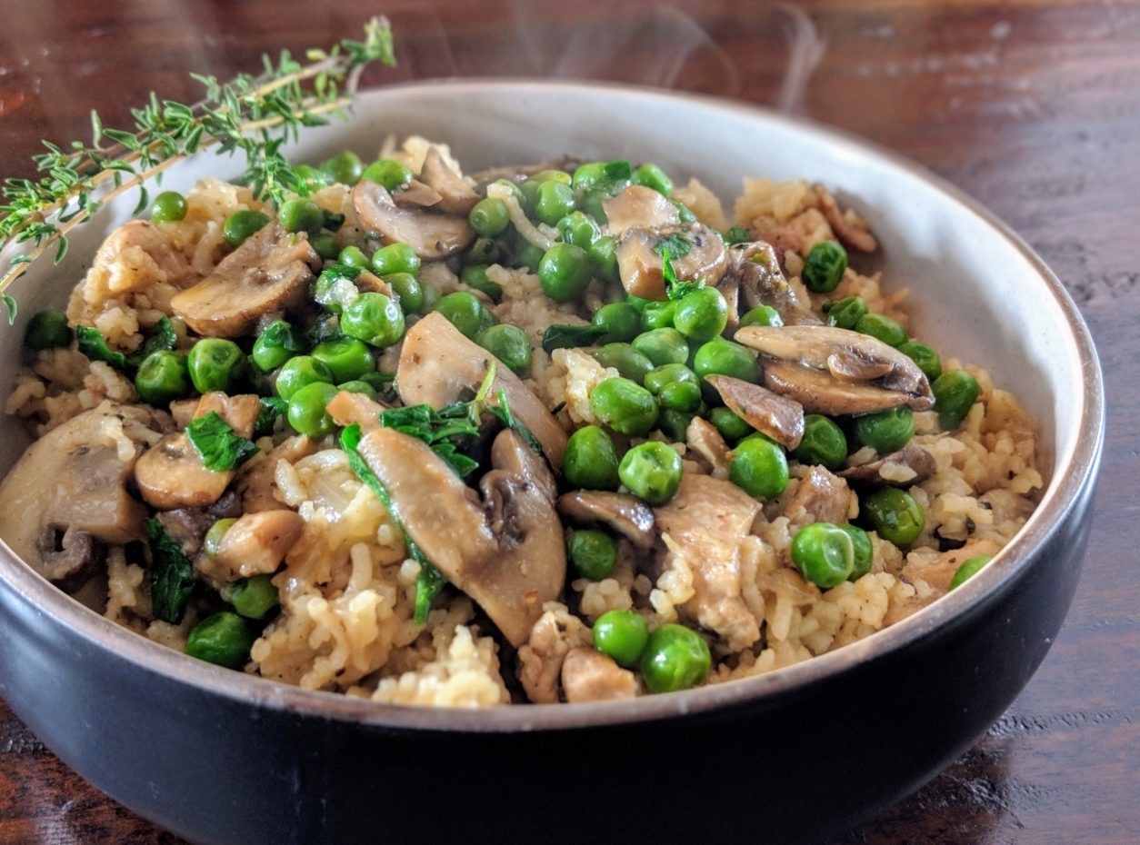 Basmati Rice Herbed Chicken With French Peas And Mushrooms